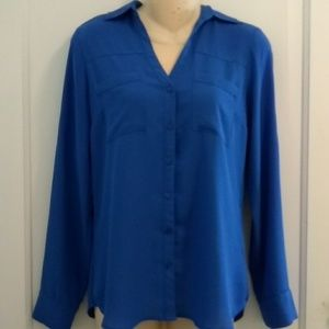 Express Royal Blue Blouse with Pockets XS
